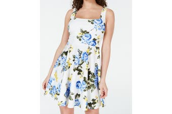 B. Darlin Dress White Size 1 Junior A-Line Floral Square Neck Tie Back
