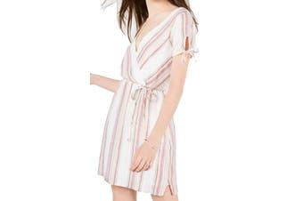 City Studio Dress Beige Size XS Junior A-Line Faux Wrap Stripe Shimmer