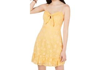 City Studio Dress Sunshine Yellow Size 9 Junior Sheath Lace Ruffle Hem