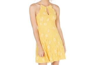 City Studio Women's Dress Yellow Size Medium M A-Line Scallop Lace