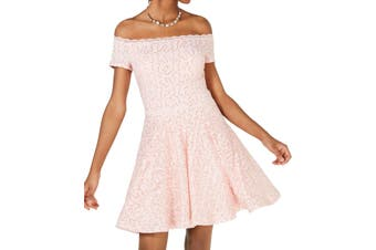 B. Darlin Dress Baby Pink Size 3 Junior A-Line Off Shoulder Lace
