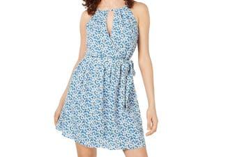 BCX Women's Dress Blue Size XL A-Line Floral Belted Halter Keyhole