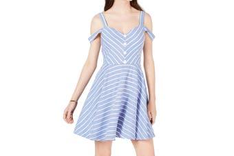 City Studio Dress Blue Size 3 Junior A-Line Cold Shoulder Striped