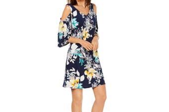 Connected Apparel Women's Dress Blue Size 12 Shift Floral Cold Shoulder