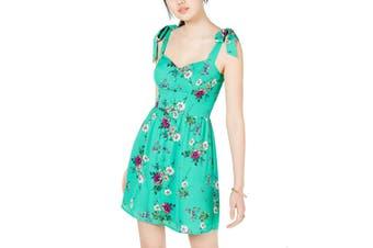 City Studio Dress Green Size 13 Junior A-Line Floral Tie Strap Sleeve