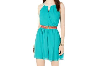 BCX Women's Dress Green Size Large L A-Line Belted Halter Chiffon