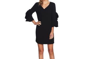 CeCe Women's Dress Deep Black Size 12 Sheath Ruffle Sleeve V-Neck `