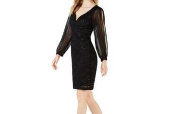 Connected Apparel Women's Dress Black Size 16 Sheath Lace Cutout Sleeve