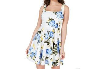 B. Darlin Dress White Size 0 Junior A-Line Square Neck Tie Back Floral