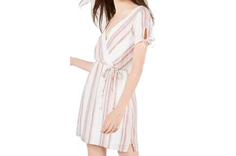 City Studio Dress Beige Size Medium M Junior A-Line Metallic Stripe