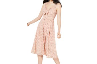 City Studio Dress Pink Size Small S Junior A-Line Floral Tie Front