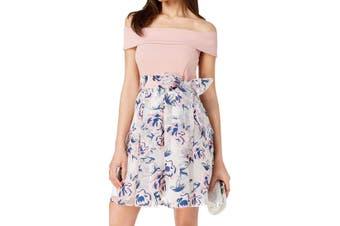 B. Darlin Dress Pink Size 5/6 Junior A-Line Off Shoulder Colorblock