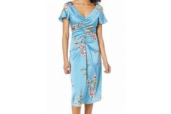 Avec Les Filles Women's Dress Blue Size 12 Sheath Satin Ruched Floral