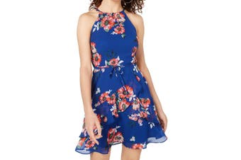 BCX Dress Cobalt Blue Size XL Junior A-Line Floral Tie Waist Halter