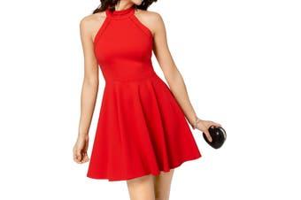 B. Darlin Dress Red Size 1 Junior A-Line Halter Crochet Fit&Flare