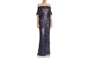 Aidan Mattox Women's Dress Navy Blue Size 8 Sequin Off Shoulder Gown
