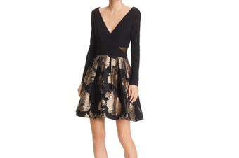 Avery G Women's Dress Black Size 10 A-Line Metallic Floral Contrast