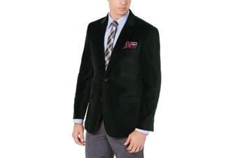 Tommy Hilfiger Mens Green Size 38 Long Two Button Corduroy Blazer