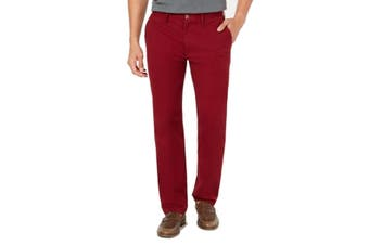 Club Room Mens Pants Red Size 36X30 Flat Front Straight Khakis Stretch