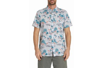 Billabong Mens Blue Size Small S Flamingo Print Button Down Shirt