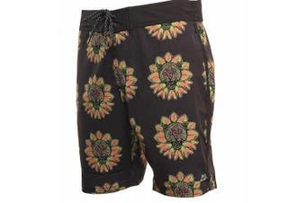 ...Lost Mens Gray Size 38 Cheetah Floral Print Drawstring Board Shorts
