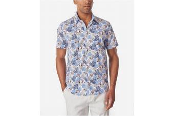 Tallia Mens Shirt Blue Size Small S Button Down Crane Floral Print