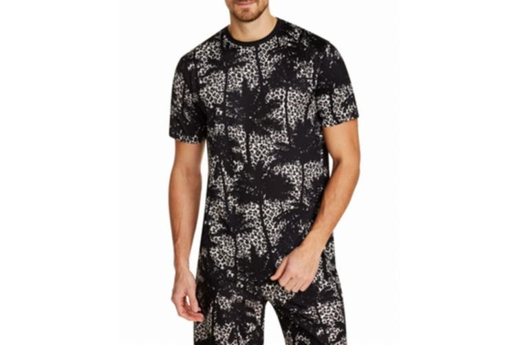 Tallia Mens Black Size Small S Palm Tree Leopard Graphic Tee Shirt