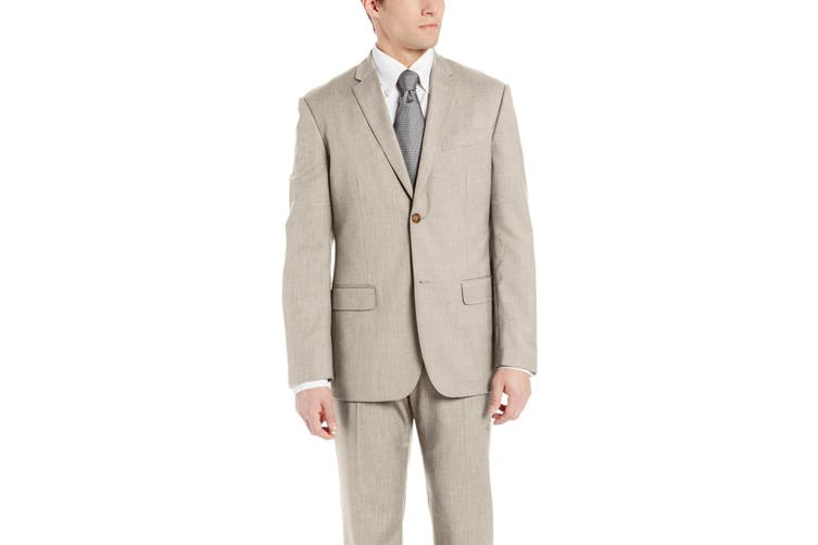 Perry Ellis Mens Blazer Beige Size 42 Two Button Regular Fit Notched