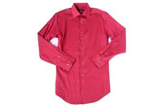 Alfani Mens Dress Shirt Red Size Medium M 15-15 1/2 Athletic Fit