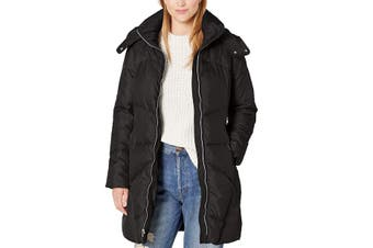 Cole Haan Women's Coat True Midnight Black Size Medium M Hooded