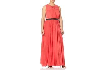 ABS by Allen Schwartz Women's Dress Orange Size 20W Plus Pleated Gown