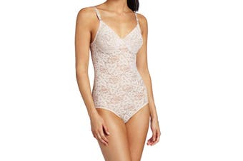 Bali Women's Shapewear Pink Size 36C Body Suits Sheer Floral Lace Underwire #212