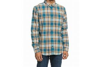 DC Men Blue Size Large L Plaid Print Notrhboat Button Down Shirt Cotton