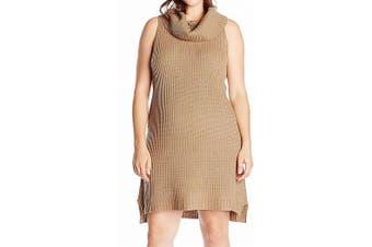 BB Dakota Women's Sweater Dress Churro Beige Size 2X Plus Cowl Neck