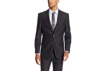 Haggar Mens Blazer Gray Size 36 Pinstripe Two-Button Tailored Fit