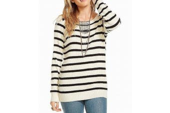 Chaser Women's Sweater Striped Ribbed White Size Large L Pullover