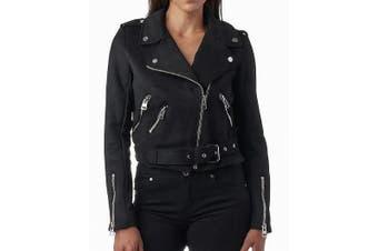 Celsius Women's Jacket Solid Jet Black Size Large L Motorcycle Suede