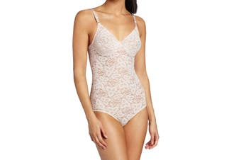 Bali Women's Pink Size 34B Floral Lace Smoothing Comfort Body Suits