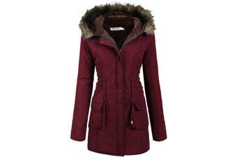 Beyove Women's Coat Cranberry Red Size XXL Faux Fur Suede Hood Full Zip