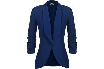 Beyove Women's Jacket Blue Size Large L Single Button Shawl Collar