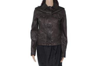 Cole Haan Women's Jacket Brown Size XS Zip Front Motorcycle Lambskin