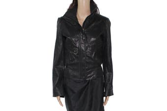 Cole Haan Women's Jacket Black Size XS Ribbed Motorcycle Lambskin