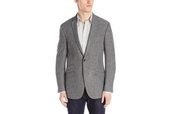 Andrew Fezza Mens Blazer Gray Size 40 Two-Button Notched Collar