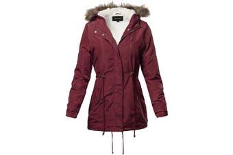 Special One International Women Jacket  Wine Red Size XL Faux Fur Parka