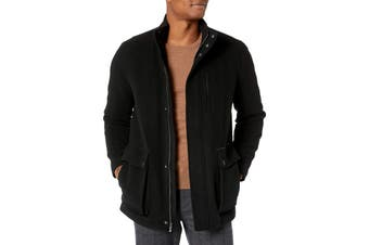 Cole Haan Mens Coat Deep Black Size Small S Full-Zip Pockets Wool