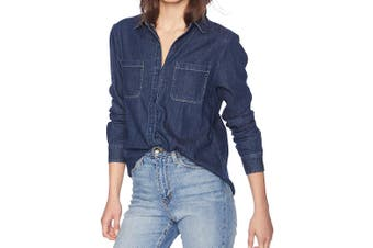 AG Adriano Goldschmied Women's Blue Size Small S Button Down Shirt
