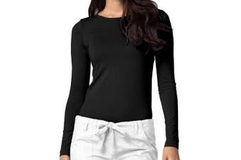 Adar Women's Top Black Size XL Knit Long Sleeve Underscrub Comfort Tee