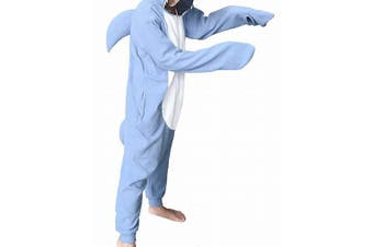 Designer Brand Women's Blue Size XS Shark Hooded One Piece Sleepwear