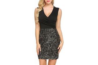 ANGVNS Women's Dress Black Size Small S Sheath Sequined Surplice