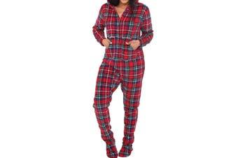 Alexander Del Rossa Women's Sleepwear Red Size XS Fleece One Piece